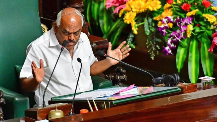 """""""We have to close this Tuesday before 6 pm. The discussion on the motion will be over by 4 pm and the voting will take place between 5-6 pm,"""" Assembly Speaker KR Ramesh Kumar said, lamenting that his own credibility was at stake. He adjourned the Assembly amid protests by the Opposition BJP, which demanded conclusion on Monday itself. (DH Photo)"""