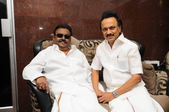 M K Stalin's surprise visit to DMDK chief Vijayakanth sent political tongues wagging with speculation mounting on whether the latter was joining the DMK-led alliance to face the Lok Sabha polls due in May. (Twitter/MK Stalin)