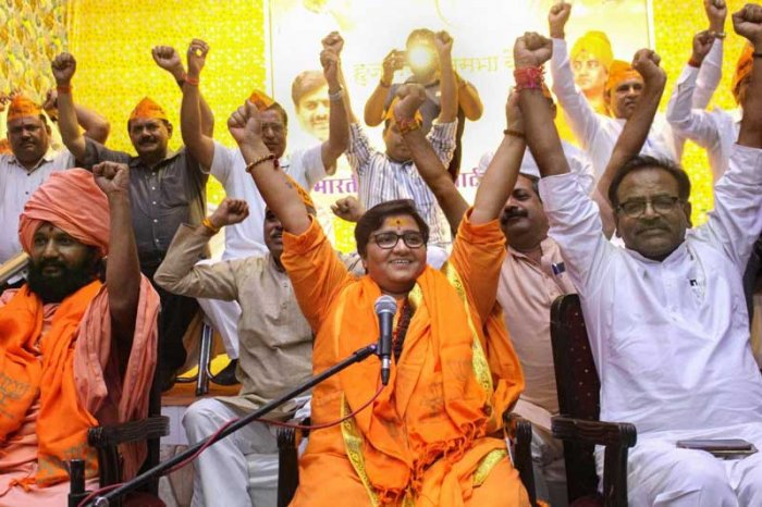 The Hindi word 'Pragya' means enlightened consciousness. But the saffron clad 'Sadhvi', the BJP's new Hindutva poster-girl, is more in the news for her vituperative comments. (PTI File Photo)