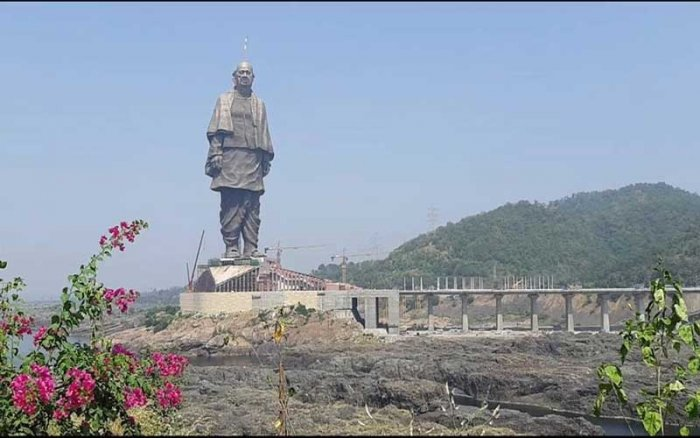 The 182-metre tall statue will be unveiled by the PM on the birth anniversary of Sardar Patel, the first home minister of the country. (Image: Twitter/@InfoGujarat)