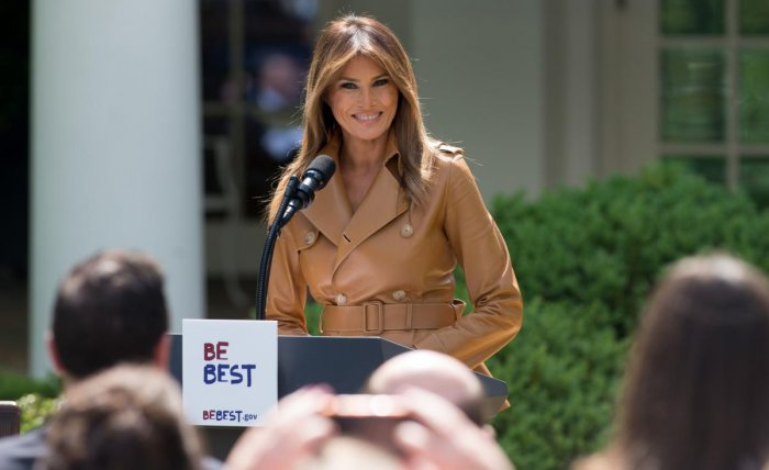 """In this file photo taken on May 7, 2018 US First Lady Melania Trump announces her """"Be Best"""" children's initiative in the Rose Garden of the White House in Washington, DC. AFP photo"""