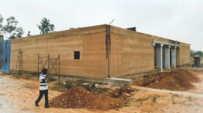 The under construction building of the Dr H N Science Centre, at Hosur, Gauribidanur. The Centre is yet to be dedicated.