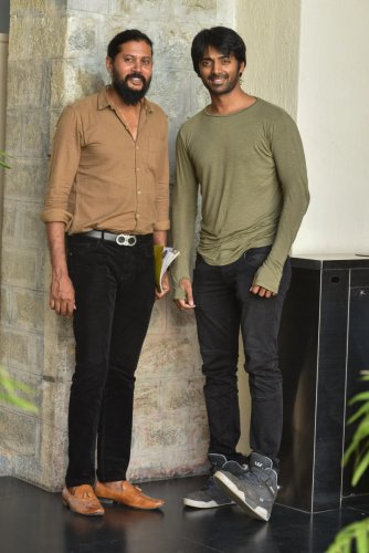 Screenwriter Maasthi (left) and actor Vihan Gowda at the DH office.
