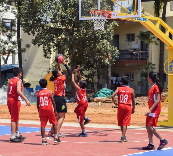 A basketball court and two football grounds are among a host of facilities at the Nettakallappa Centre for Sports at Deccan International School, which was inaugurated in Bengaluru on Saturday. DH Photo