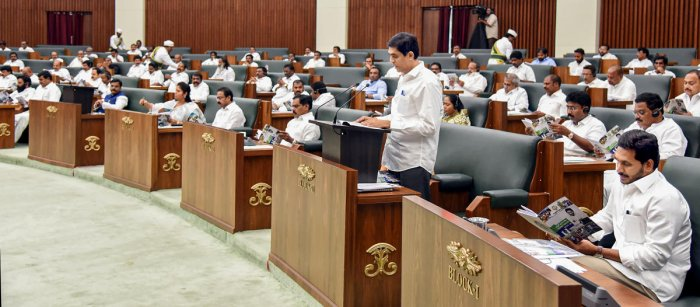 The three, K Atchannaidu, Gorantla Butchaiah Chowdary and Nimmala Ramanaidu, who are deputy leaders of TDP in the assembly, have been suspended from the House for the rest of the Budget session. (File Photo/PTI)