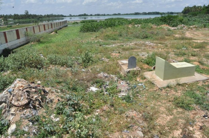 The Christian cemetery near Yathagadahalli Lake, in Mandya.
