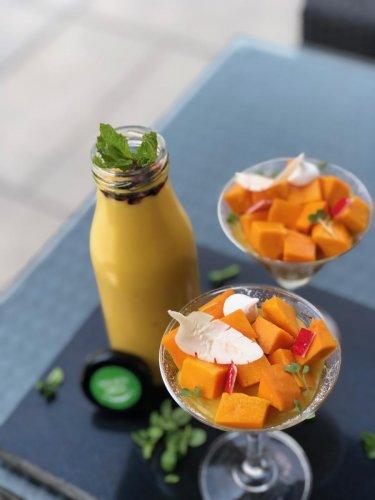 Smoothie and Mango Pudding