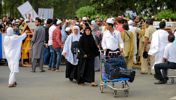 Muslims arrive to board a flight for the Hajj pilgrimage to Mecca at the Sardar Vallabhbhai Patel International Airport in Ahmedabad (AFP Photo)