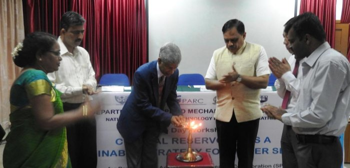 Prof Sivakumar Muttu Cumaru, associate professor of the University of Wollongong Australia, inaugurates the workshop on 'Coastal Reservoirs as Sustainable Strategy for Water Security' at NITK in Surathkal.