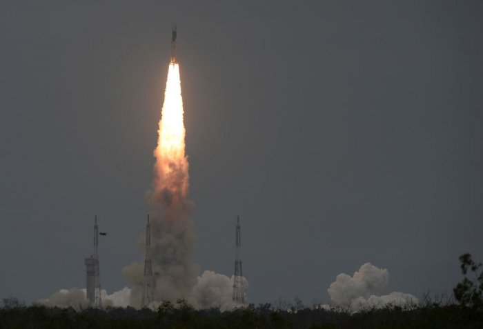 India had on Monday launched Chandrayaan-2 on-board its powerful rocket GSLV-MkIII-M1 from the spaceport of Sriharikota in Andhra Pradesh with the aim of landing a rover in the unexplored lunar south pole. (AFP Photo)