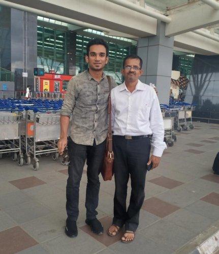 Gautam Madahavan with driver Krishnan Nair.