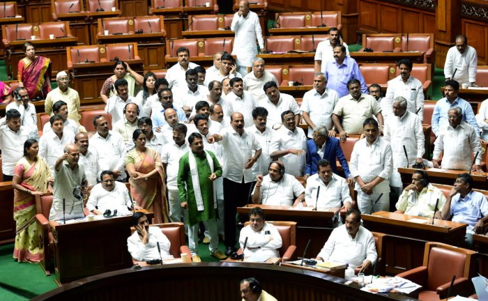 The Karnataka Assembly has witnessed an intense battle between BJP and the ruling Congress-JD(S) coalition. Photo credit: PTI