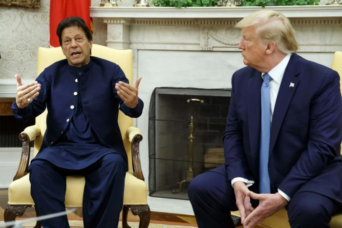Pakistani Prime Minister Imran Khan speaks during a meeting with President Donald Trump in the Oval Office of the White House (AP/PTI Photo)