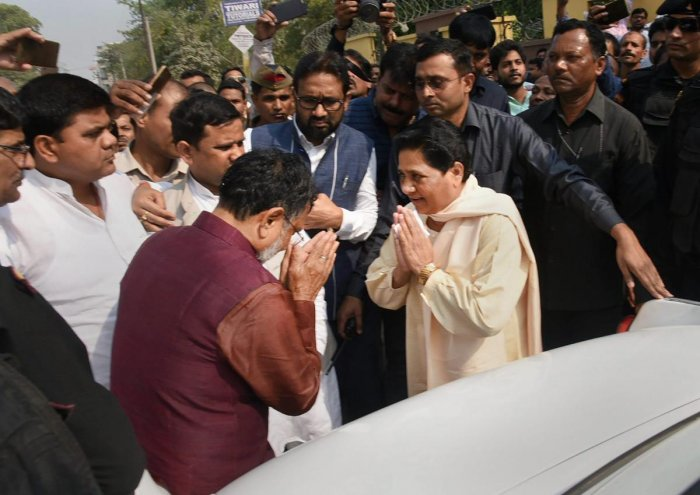 File photo of Ram Govind Chaudhary(L) with BSP supremo Mayawati. Photo credit: PTI