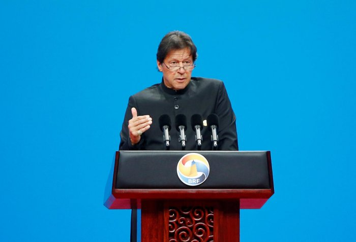 Pakistani Prime Minister Imran Khan delivers a speech at the opening ceremony for the second Belt and Road Forum in Beijing. (REUTERS File Photo)