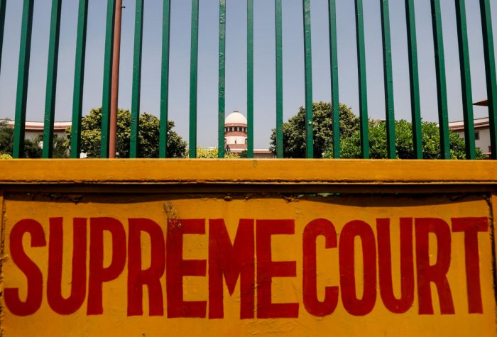 A signboard is seen outside the premises of Supreme Court in New Delhi, India. (Reuters Photo)