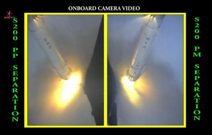 Isro released a video of the GSLV Mk III launch vehicle's S200 Solid Rocket Boosters getting ignited and separating. The video was shot from Chandrayaan-2 onboard camera. Photo: ISRO