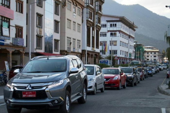 Famed for valuing Gross National Happiness over economic growth, Bhutan is a poster child for sustainable development. But booming car sales may impact efforts to preserve its rare status as a carbon-negative country and an increase in traffic is testing the good humour of its citizens. (AFP Photo)