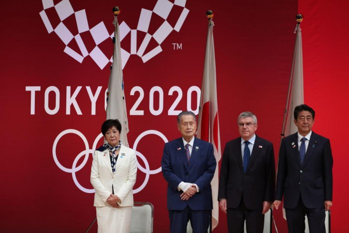 Tokyo entered the final leg of its marathon Olympic preparations, marking a year until the 2020 Games open with officials promising a high-tech but eco-friendly event. (AFP Photo)