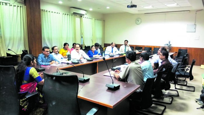 Deputy Commissioner Hephsiba Rani Korlapati speaks at a meeting at DC office in Manipal.