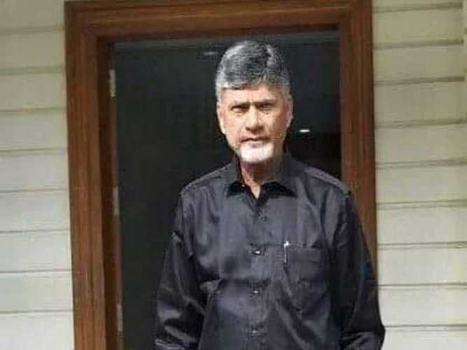 Nara Chandrababu Naidu sporting a black shirt while attending Assembly on Friday in protest of centre's step motherly treatment towards Andhra Pradesh. (DH Photo)