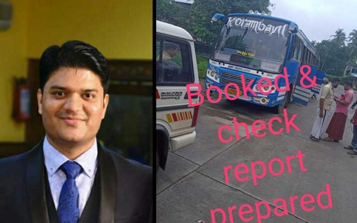 Malappuram district collector Jafar Malik and the private bus.