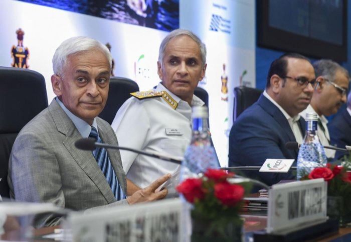 Navy Chief Admiral Karambir Singh (C), Retired Navy chief Admiral Sunil Lanba (L) and FICCI President Sandip Somany attend the international seminar on 'Nation Building Through Shipbuilding', in New Delhi. (PTI Photo)