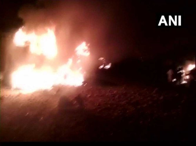 The incident occurred around 8.30 pm at Hathi Belagal village of Aluru block. The condition of those injured in the explosion is said to be serious. Image courtesy ANI/Twitter