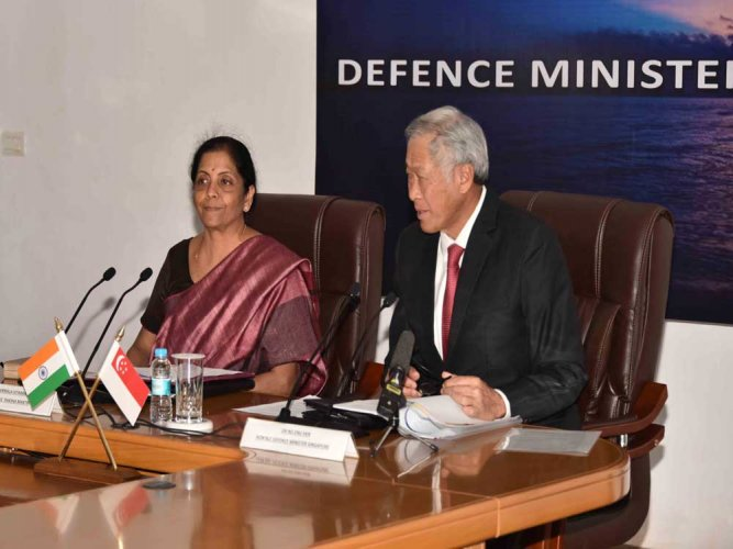 Joint Media Briefing by Smt. Nirmala Sitharaman Minister of Defence and Dr Ng Eng Hen, Minister of Defence of the Republic of Singapore on completion of 3rd DMD. DH photo