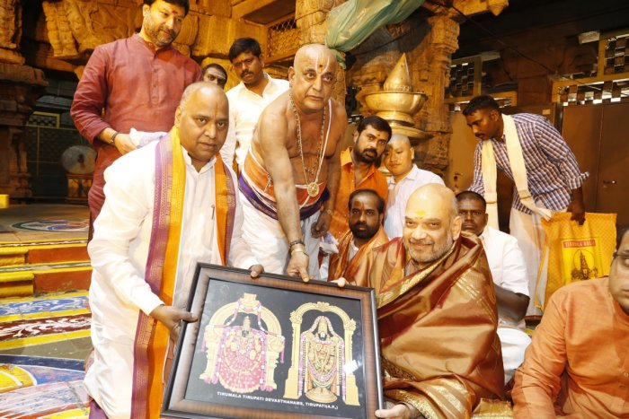 BJP national president Amit Shah after Darshan in Tirumala on Friday. TTD photo