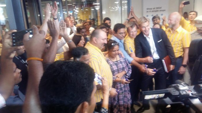 IKEA's first customer at its first store in India, Rajni Venugopal, inaugurates the facility by cutting the ribbon, in Hyderabad on Thursday. (DH Photo/JBS Umanadh)