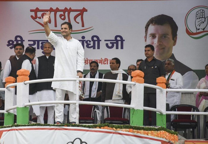 Terming the Telangana Rashtra Samithi (TRS) as Telangana Rashtriya Sangh Parivar, AICC chief Rahul Gandhi gave a call to voters to defeat both the parties in the ensuing assembly elections and then in the 2019 General elections. PTI photo