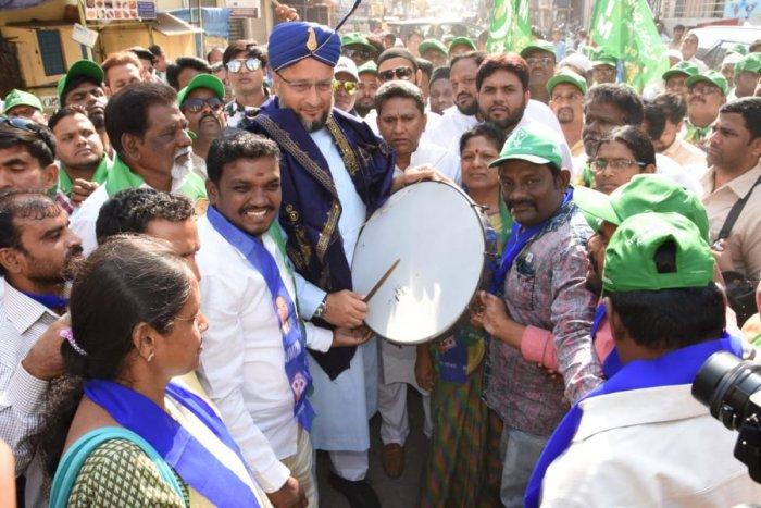 Asaduddin Owaisi campaigning at Chandrayangutta area in Hyderabad on Sunday.