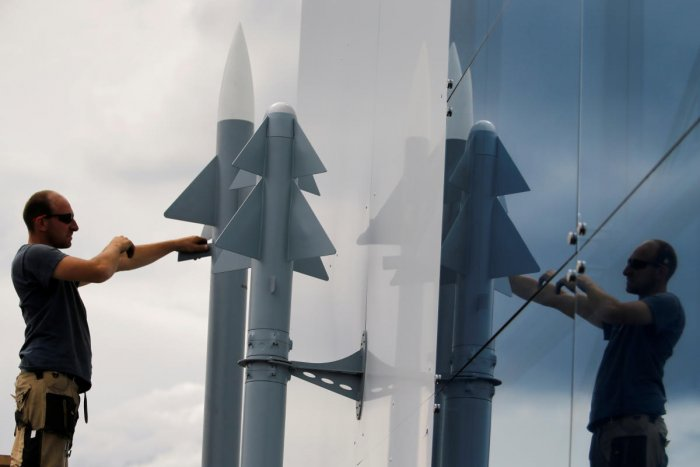 A worker installs two Rafael Air Missile Defence models, before the opening of the 53rd Paris Air Show at Le Bourget Airport near Paris, France June 14 2019. REUTERS/Pascal Rossignol (Representative image)