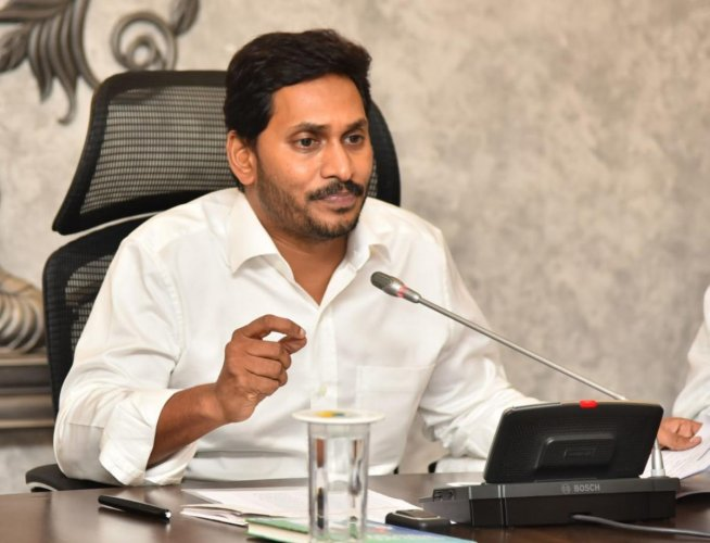 AP CM YS Jaganmohan Reddy at his Tadepalli residence on Wednesday. DH photo