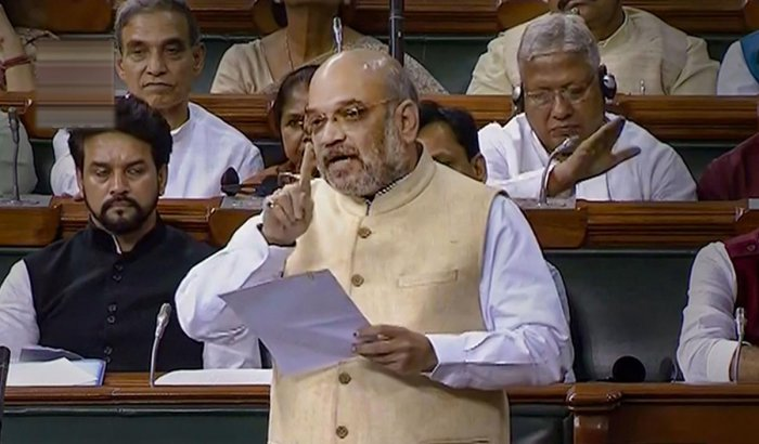 Union Home Minister Amit Shah speaks in the Lok Sabha during the Budget Session of Parliament in New Delhi, Wednesday, July 24, 2019. PTI