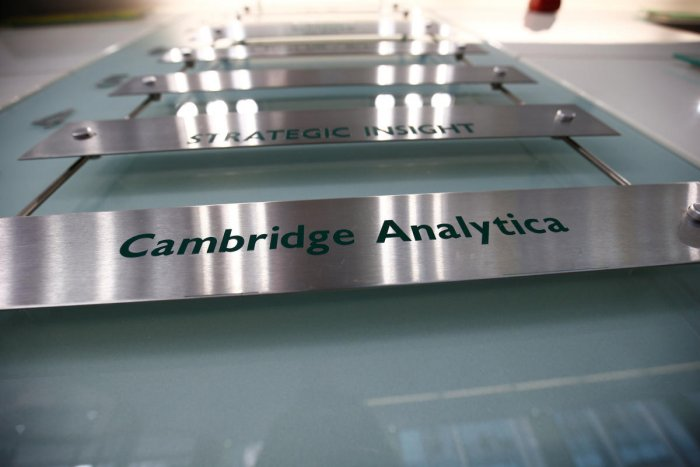 The nameplate of political consultancy, Cambridge Analytica, is seen in central London, Britain March 21, 2018. Reuters file photo