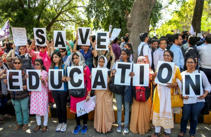 """Delhi University Teachers' Association on Friday criticised the Draft National Education Policy (DNEP), saying it paves the way """"for handing education entirely over to the markets"""". (PTI Photo)"""