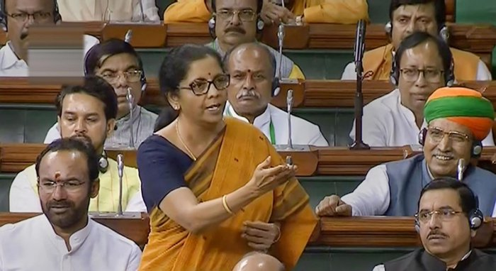Finance Minister Nirmala Sitharaman speaks in the Lok Sabha during the ongoing Budget Session of Parliament, in New Delhi, Thursday, July 25, 2019. (LSTV/PTI Photo)