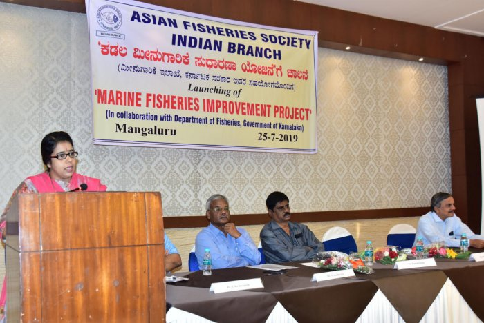 Dakshina Kannada Additional Deputy Commissioner M J Roopa speaks during the launch of 'Marine fisheries improvement project', organised by Asian Fisheries Society Indian Branch in association with Fisheries College, at Hotel Ocean Pearl in Mangaluru on Th