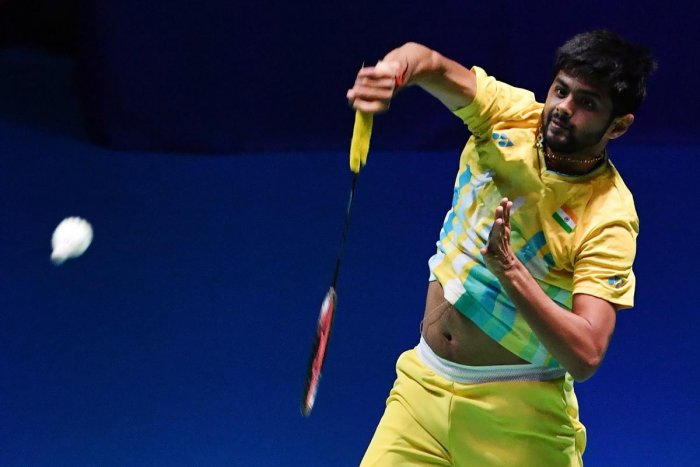 Sai Praneeth B of India hits a return during his men's singles quarter-final match against Tommy Sugiarto of Indonesia at the Japan Open badminton tournament, a test event ahead of the Tokyo 2020 Olympic Games, in Tokyo on July 26, 2019. (AFP)