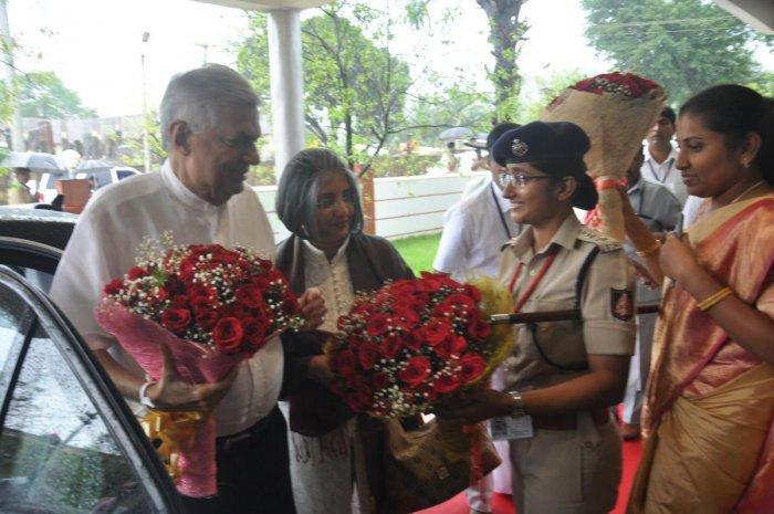 Udupi Deputy Commissioner Hephsiba Rani Korlapati and Superintendent of Police (SP) Nisha James welcome Prime Minister of Sri Lanka Ranil Wickremesinghe and his wife Maitree Wickremesinghe at Kollur on Friday.