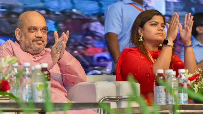 File picture of BJYM Chief Poonam Mahajan with  BJP National President Amit Shah. Photo credit: PTI