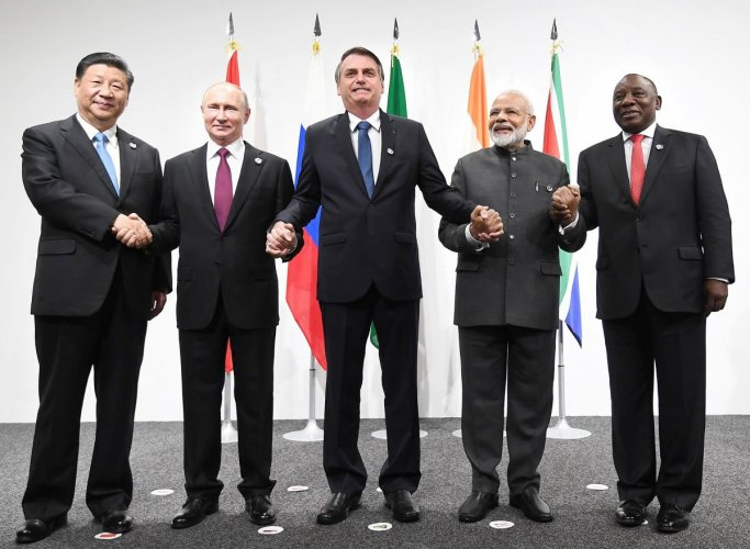 Prime Minister Narendra Modi with the leaders of BRICS nations, in Osaka, Japan. (PTI Photo)