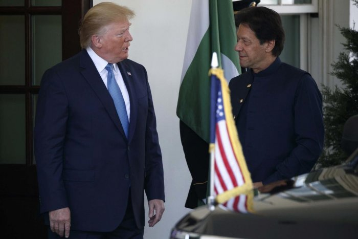President Donald Trump greets Pakistan's Prime Minister Imran Khan as he arrives at the White House earlier this week (AP/PTI Photo)