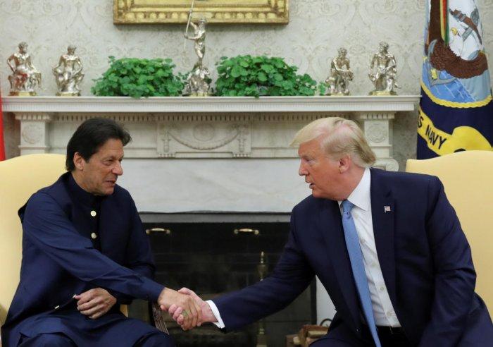 U.S. President Donald Trump greets Pakistan's Prime Minister Imran Khan (Reuters File Photo)