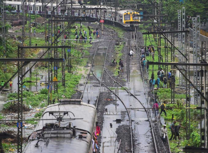Waterlogging on Mumbai Division of Central Railway due to heavy rainfall (PTI Photo)