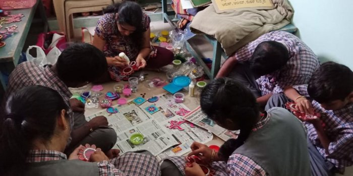 Being resourceful: Students engaged in art and craft activities at Mythri School, in Mysuru. Photos by Author