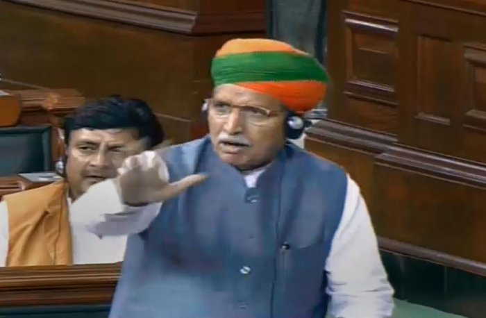 New Delhi: Union Minister Arjun Ram Meghwal speaks in the Lok Sabha during the Budget Session of Parliament, in New Delhi. (PTI Photo)