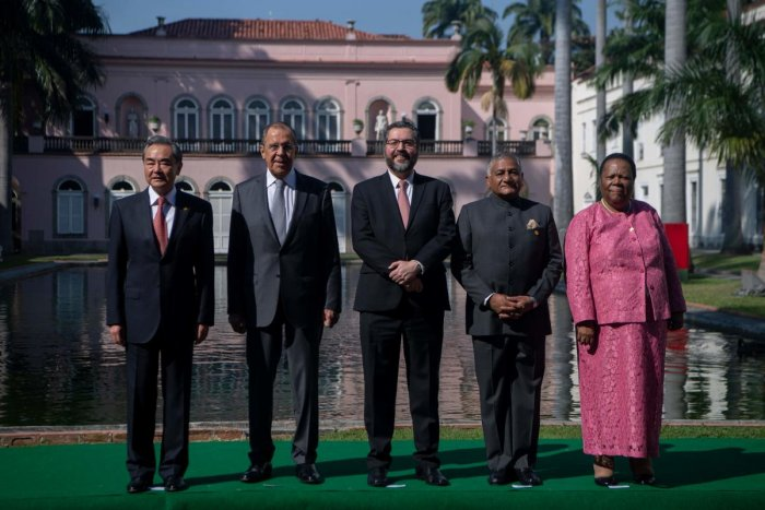 (L to R) China's Foreign Minister Wang Yi, Russia's Foreign Minister Sergey Lavrov, Brazil's Foreign Minister Ernesto Araujo, India's Minister of Road Transport Vijay Kumar Singh and South Africa's Minister of International Relations and Cooperation Grace